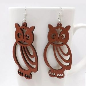 NEW 1 Pair Wooden Carved Owl Earrings Boho